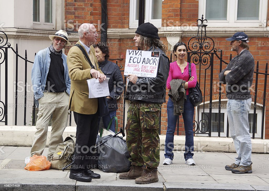 Julian Assange protesters in London stock photo