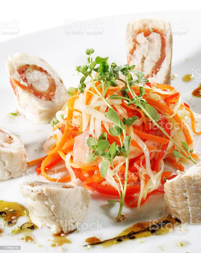 Julienne Vegetables and Prepared Fish royalty-free stock photo