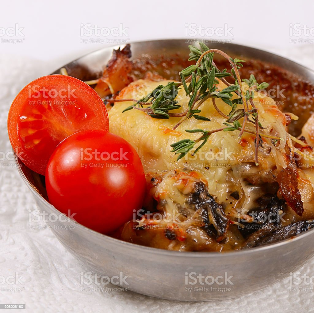 Julienne with chicken, mushrooms and cheese stock photo