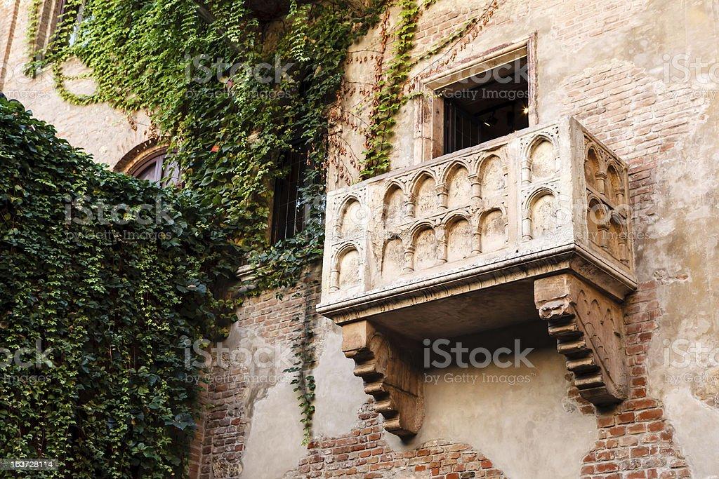 Juliet Capulet's brick balcony in Verona stock photo