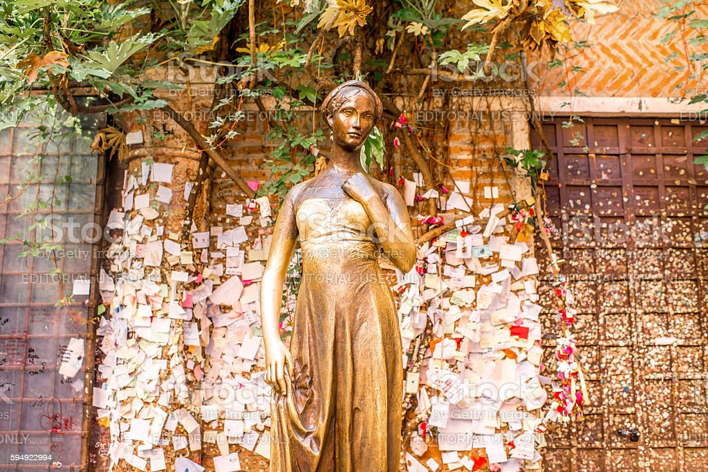 Juliet statue in Verona city stock photo