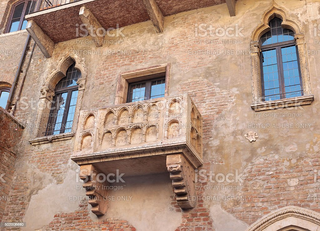 Juliet's balcony in Verona, Italy stock photo