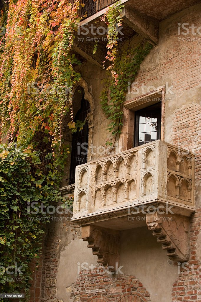 Juliet's balcony with ivy trailing down stock photo