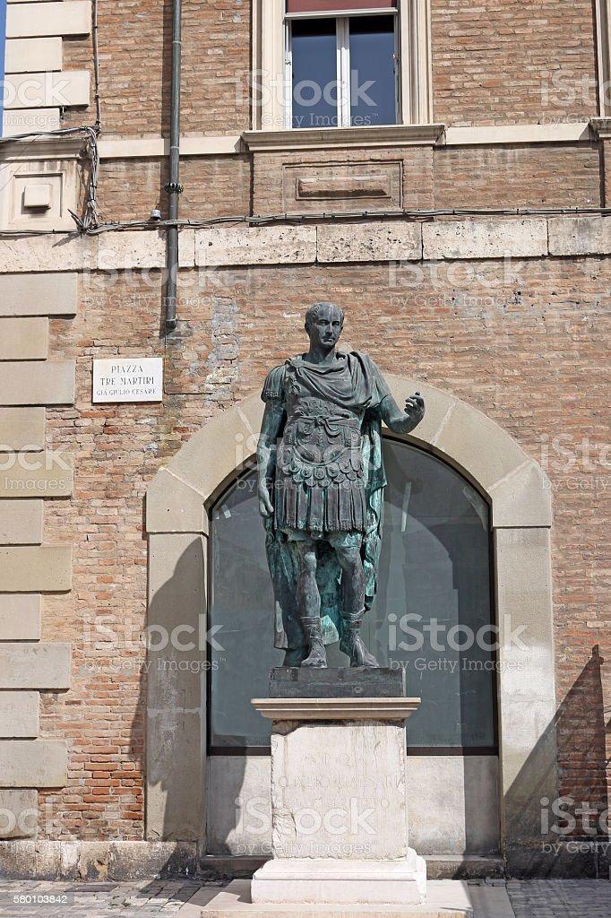Julius Caesar statue Rimini Italy stock photo