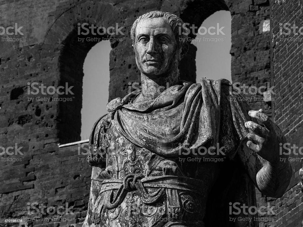 Julius Caesar statue, the Palatine Gate, Turin, Italy stock photo