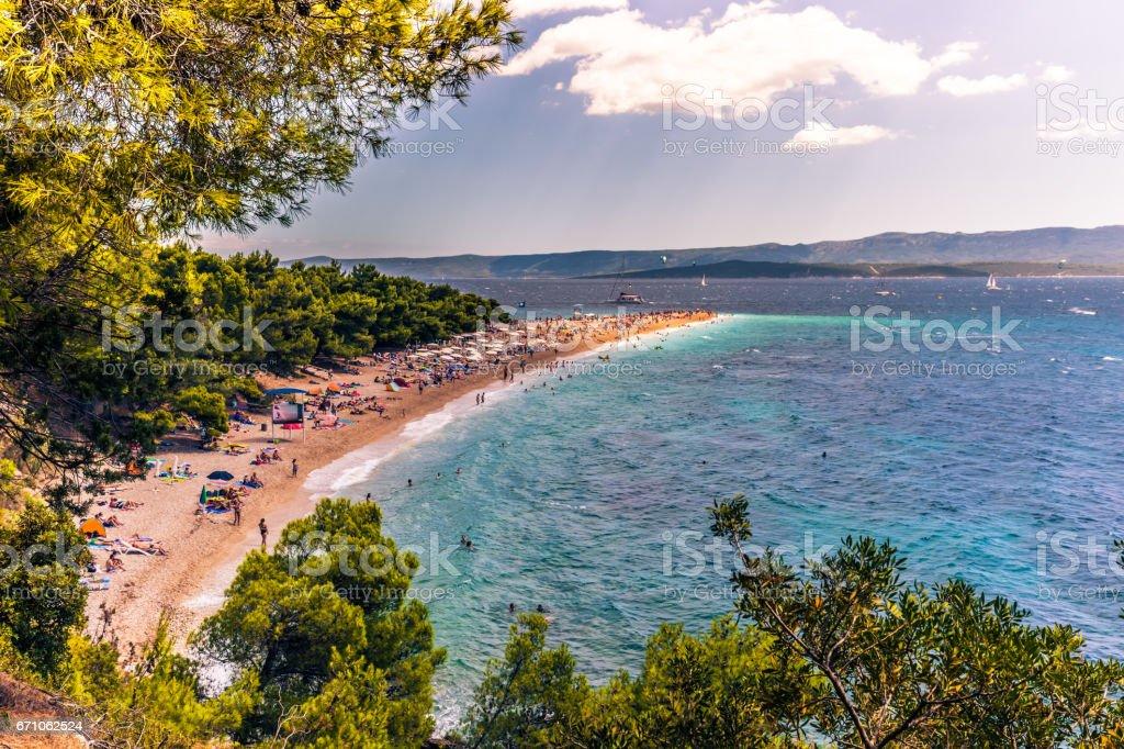 July 17, 2016: The beach of Bol in the island of Brac, Croatia stock photo