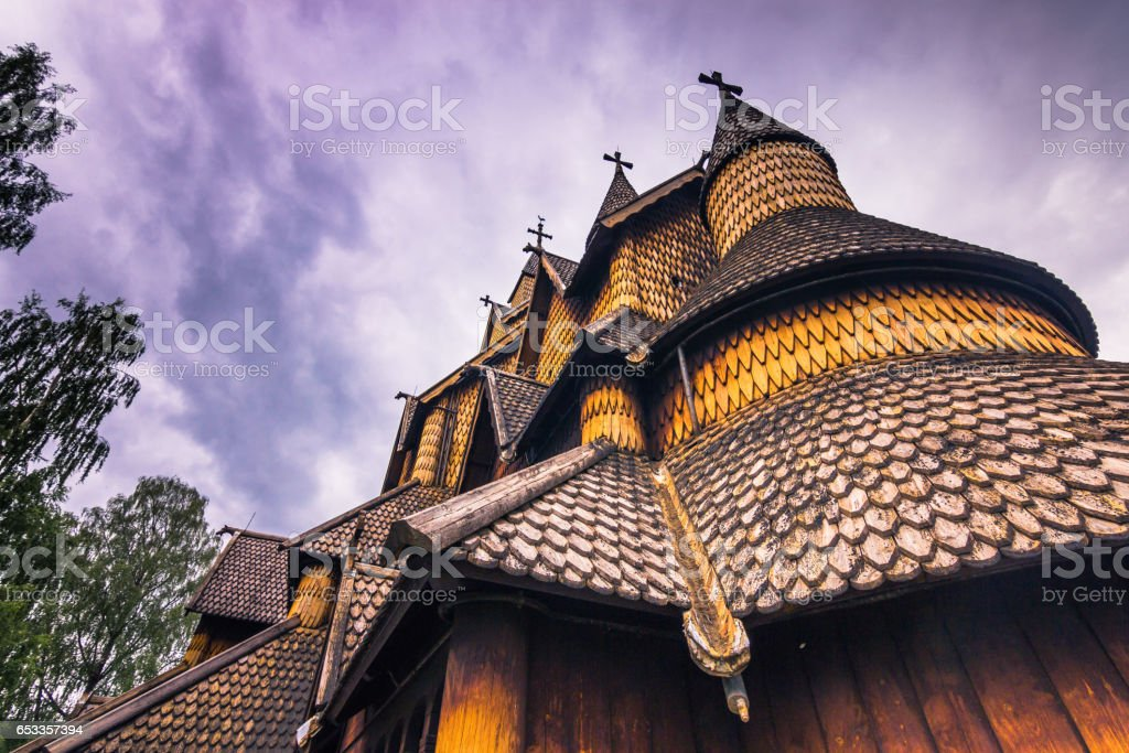 July 18, 2015: Close-up of Heddal Stave Church in Telemark, Norway stock photo