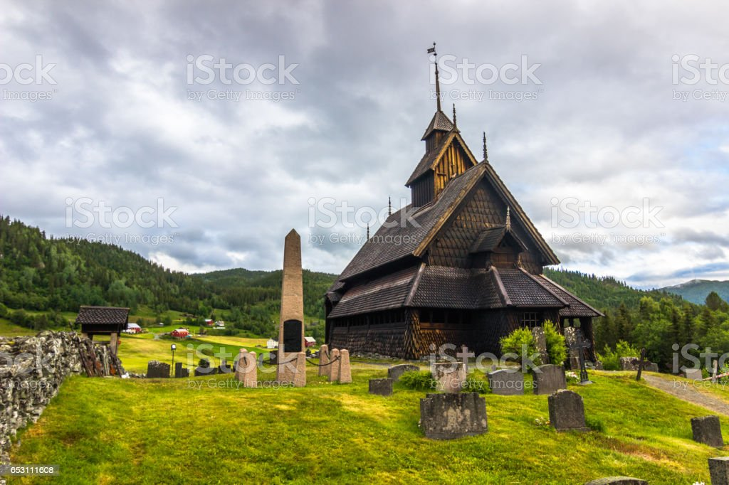 July 18, 2015: The Stave Church of Eidsborg, Norway stock photo