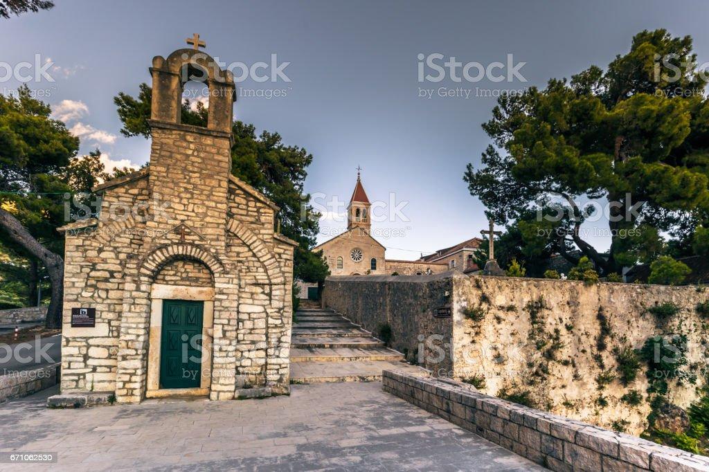 July 18, 2016: A church in the town of Bol, Croatia stock photo
