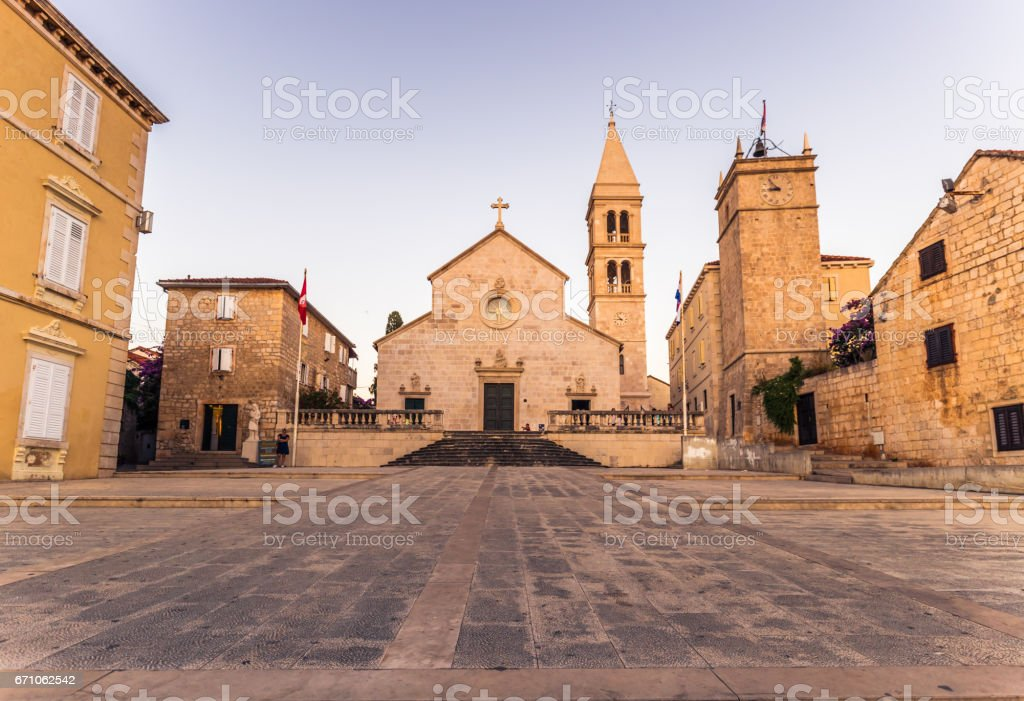 July 18, 2016: Panorama of the church of the town of Supetar, Croatia stock photo