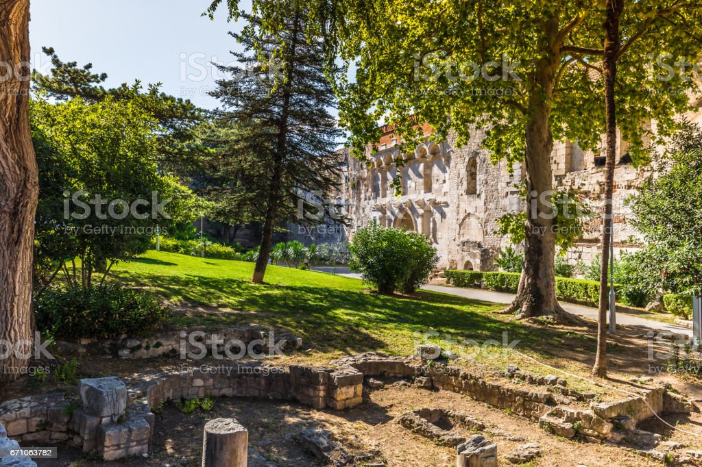 July 19, 2016: Ancient ruins in the old town of Split, Croatia stock photo