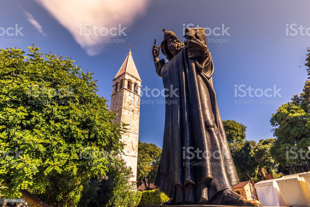 July 19, 2016: Famous statue of Gregory of Nin in the old town of Split, Croatia stock photo