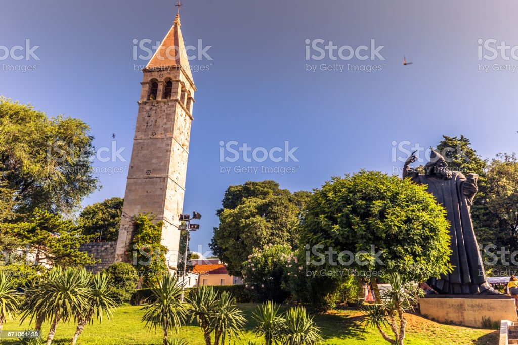July 19, 2016:  Gregory of Nin and the church in the old town of Split, Croatia stock photo