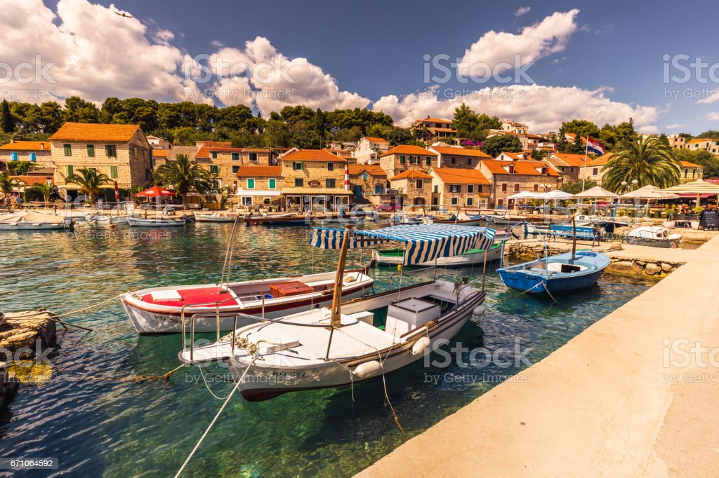 July 19, 2016: The village of Maslinica in the island of Brac, Croatia stock photo