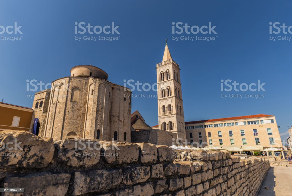 July 20, 2016:  Facade of the cathedral of Zadar, Croatia stock photo