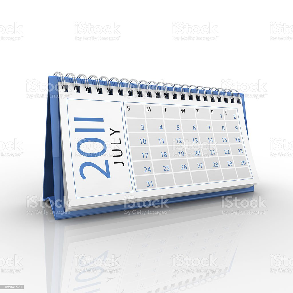 July 2011 calendar stock photo