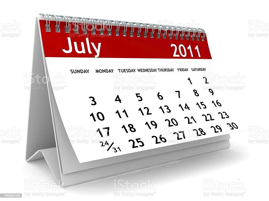 July 2011 - Calendar series royalty-free stock photo