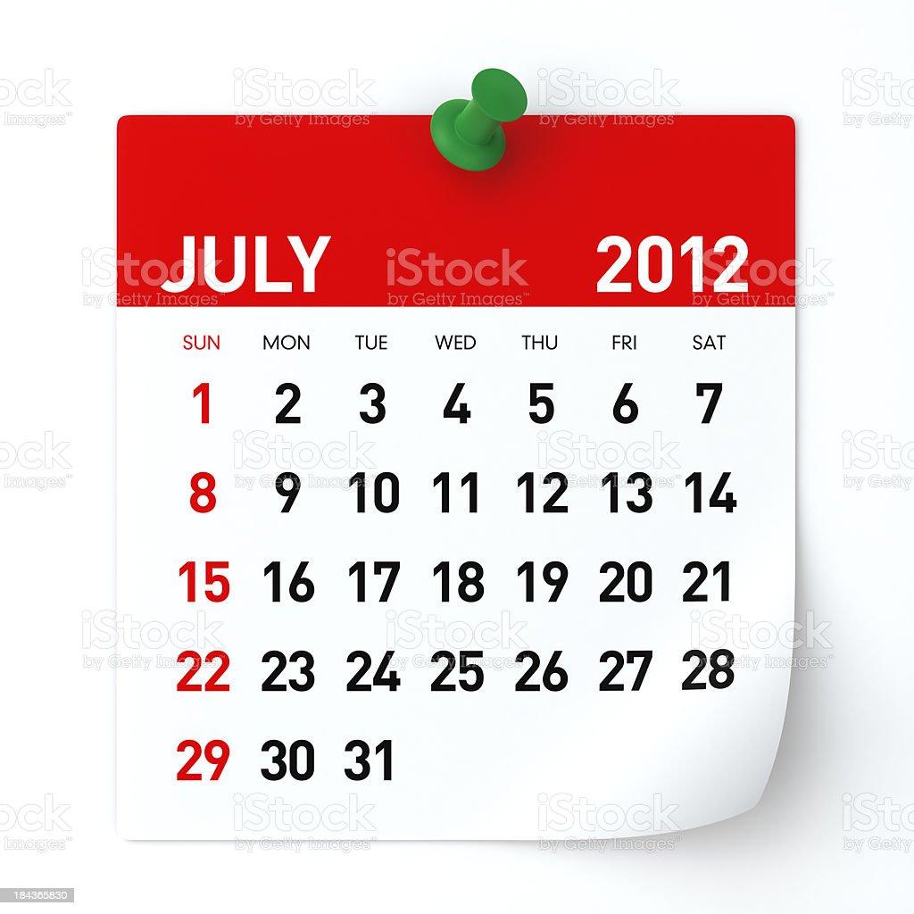 July 2012 - Calendar royalty-free stock photo