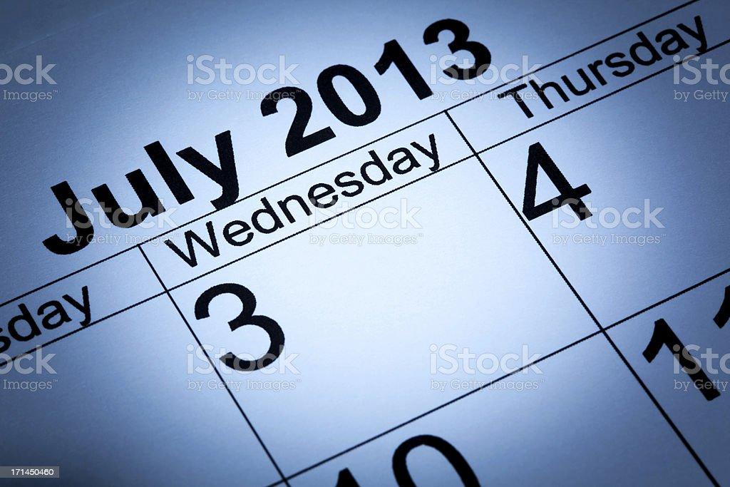 July 2013 calendar background royalty-free stock photo