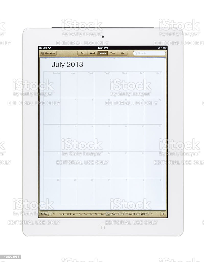 July 2013 Calender on New Ipad royalty-free stock photo