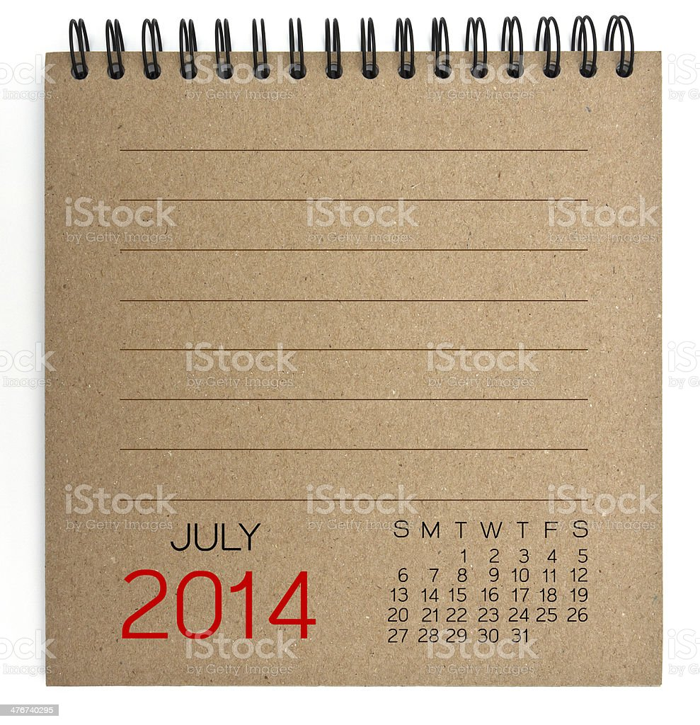 July 2014 Calendar brown Texture Paper royalty-free stock photo