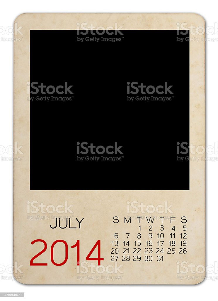 July 2014 calendar on the Empty old photo stock photo