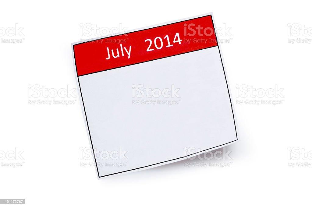 July 2014 royalty-free stock photo