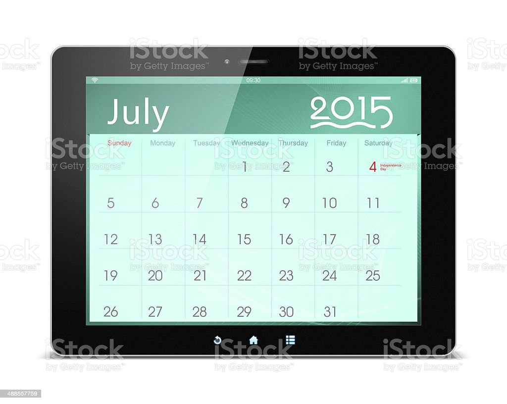 July 2015 Calender on digital tablet royalty-free stock photo