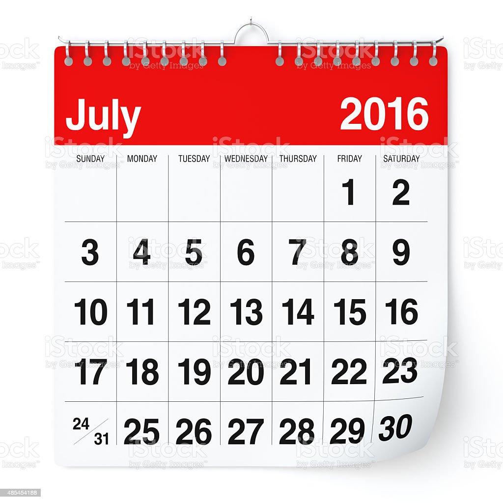 July 2016 - Calendar. stock photo