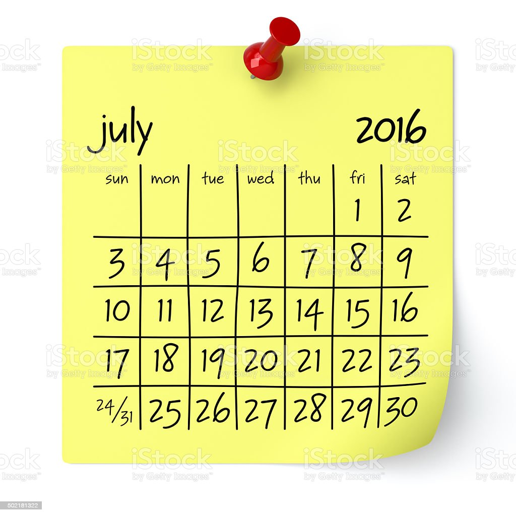 July 2016 - Calendar stock photo