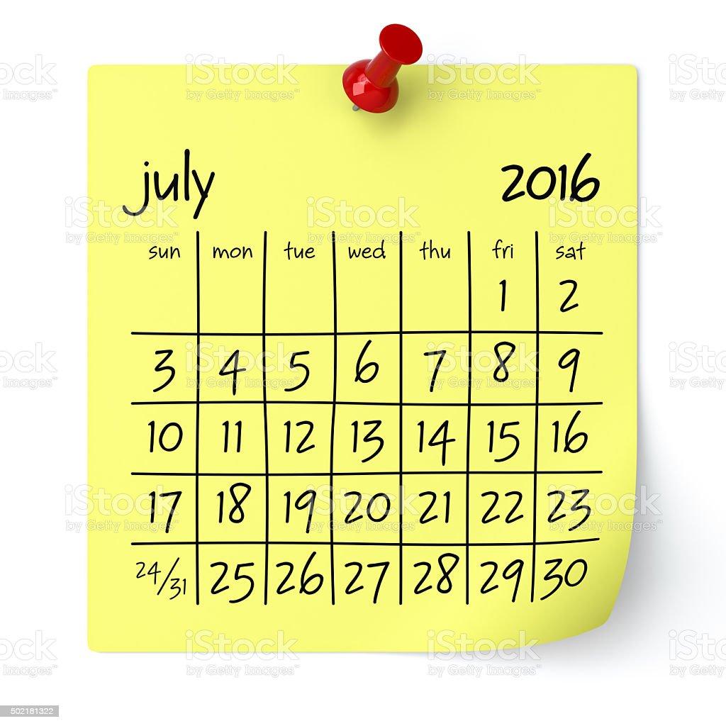 July 2016 - Calendar stock photo