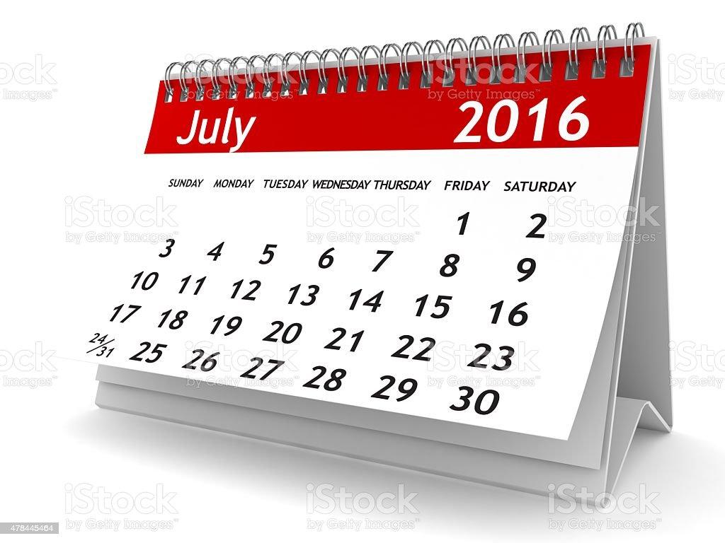 July 2016 - Calendar series stock photo