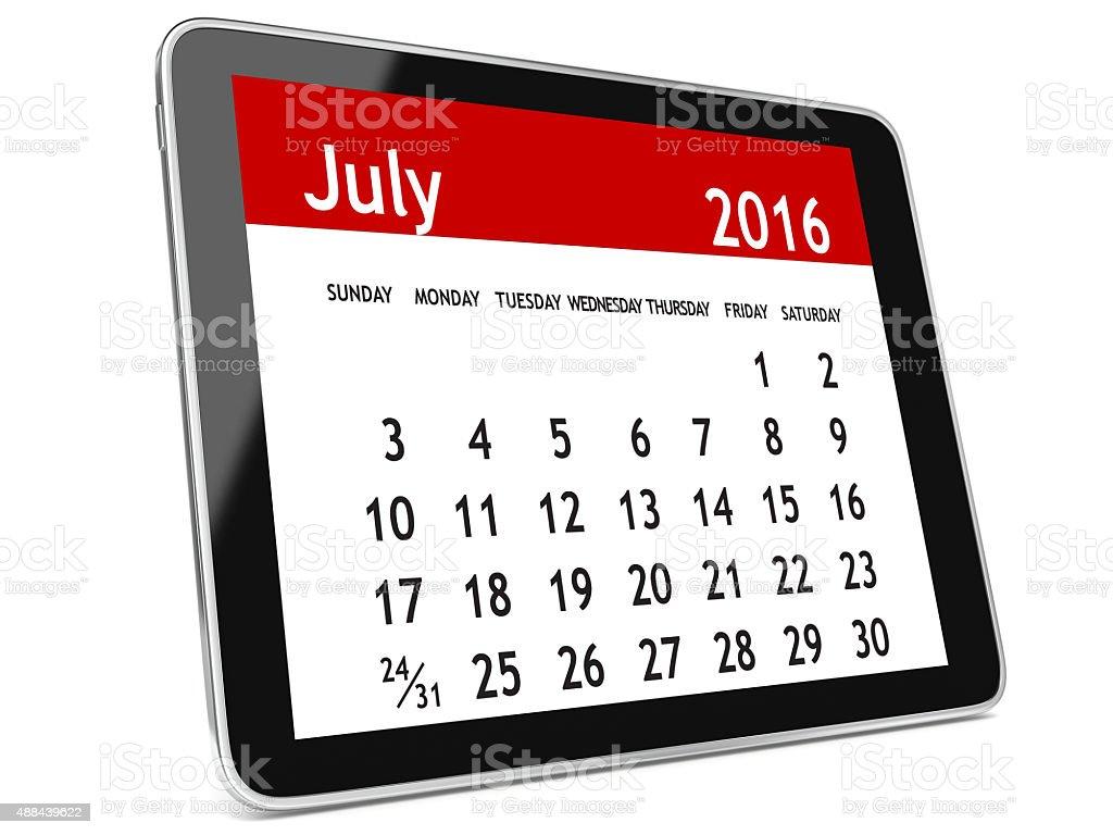 July 2016 calendar tablet stock photo