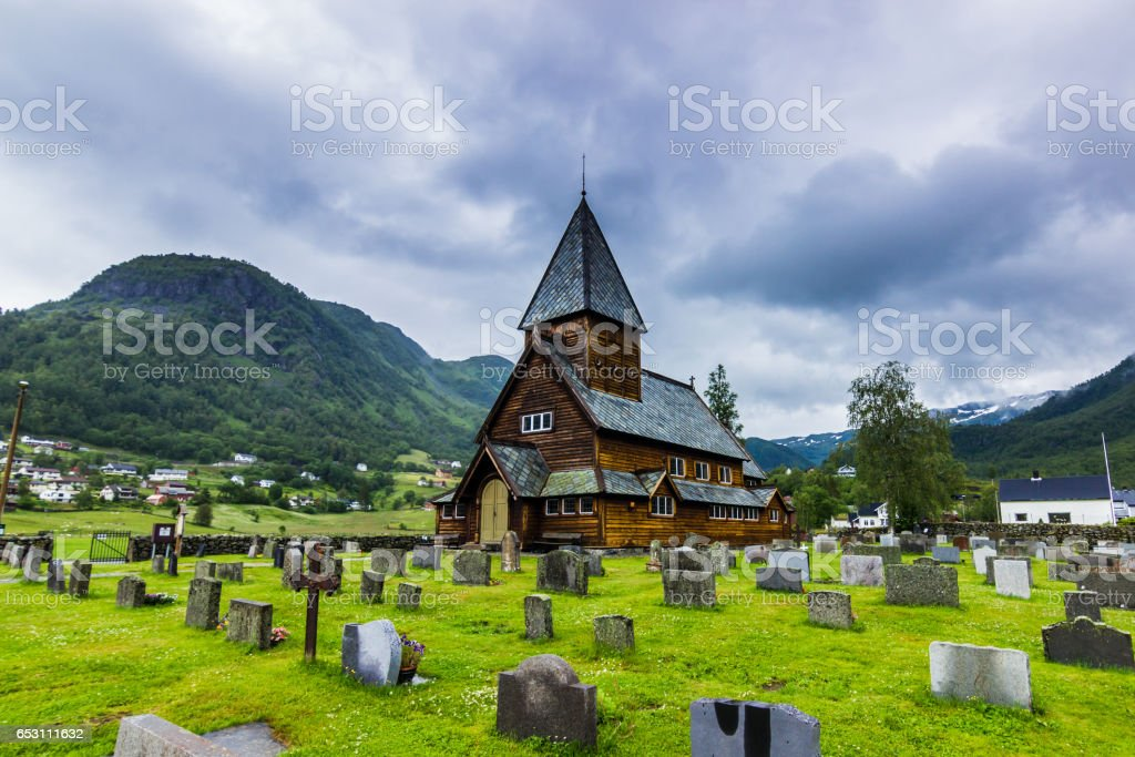 July 21, 2015: Cold panoramic shot of the stave church of Roldal, Norway stock photo