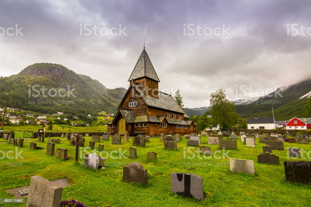 July 21, 2015: Panorama of the stave church of Roldal, Norway stock photo