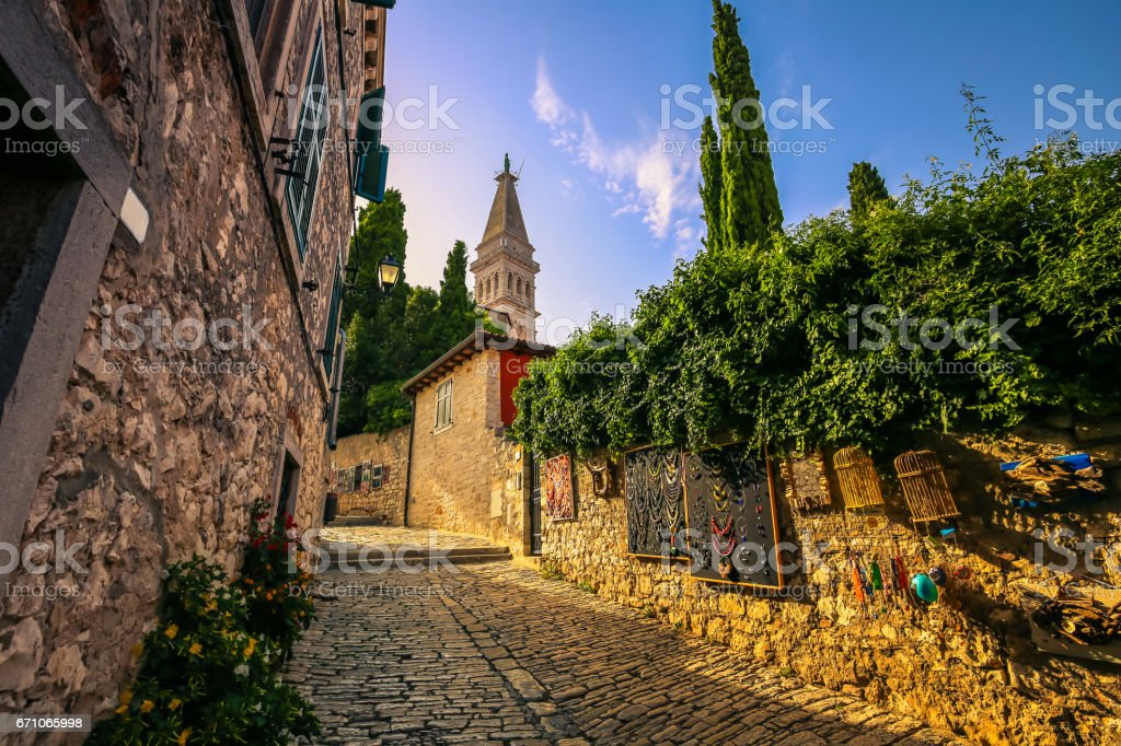 July 22, 2016: Cathedral tower at the center of the old town of Rovinj, Croatia stock photo