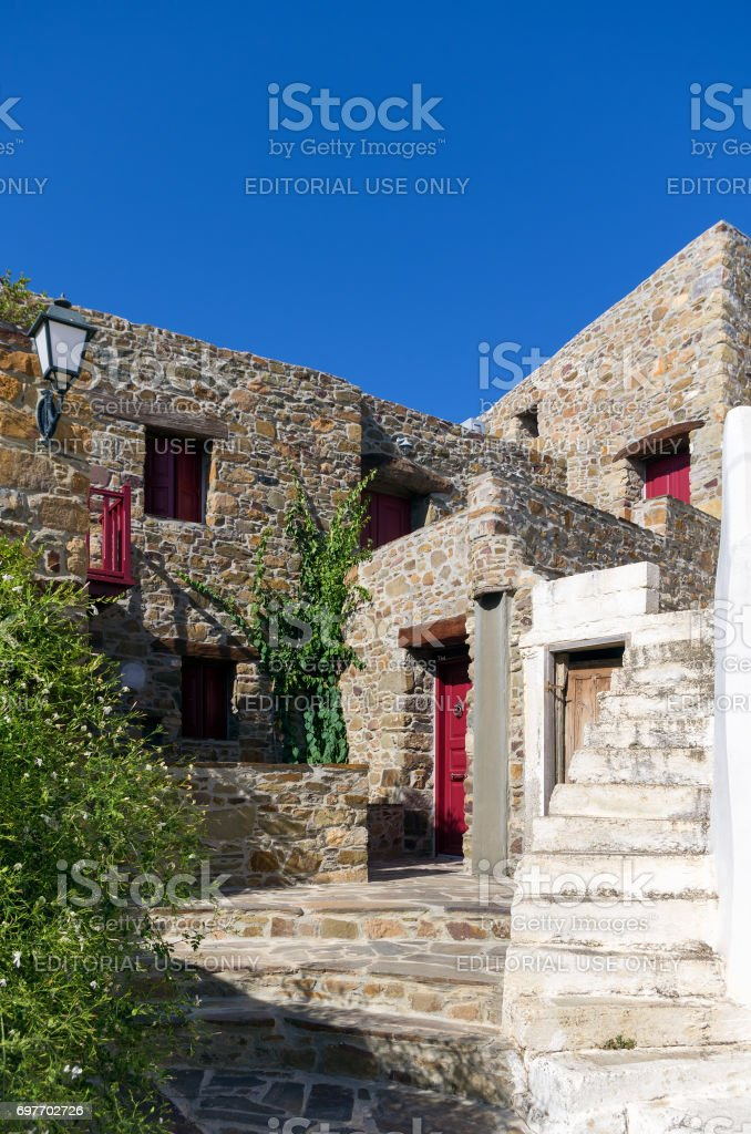 July 22nd 2012 - Street in the historic village of Volissos, Chios island, Greece stock photo