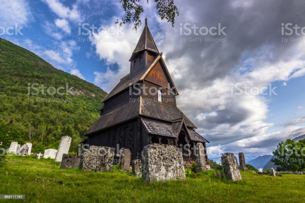 July 23, 2015: The Stave Church of Urnes, Norway stock photo