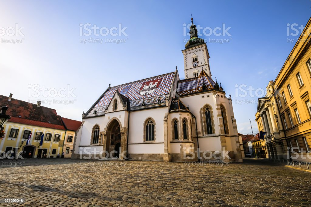 July 23, 2016: Panorama of Saint Mark's church in Zagreb, Croatia stock photo