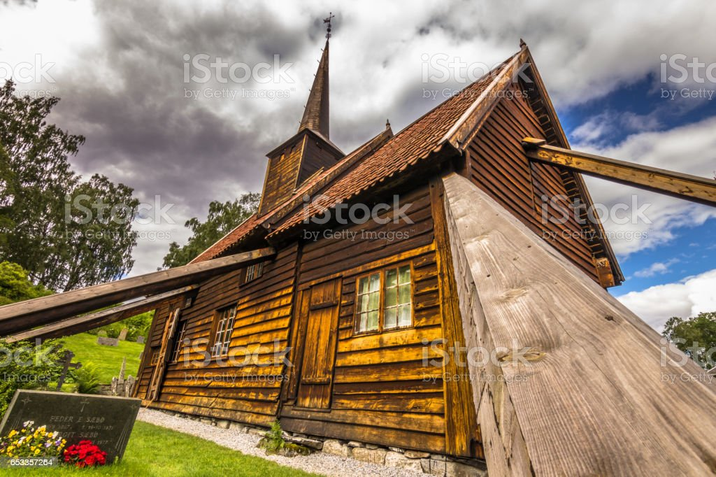 July 25, 2015: Close-up of the Rodven stave church, Norway stock photo