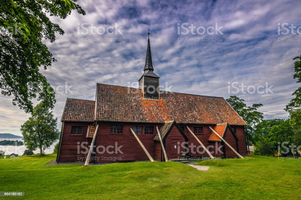 July 26, 2015: Stave church of Kvernes, Norway stock photo
