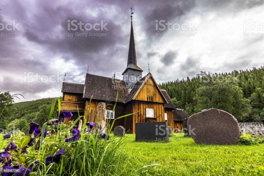 July 27, 2015: Church of Kvikne, Norway stock photo