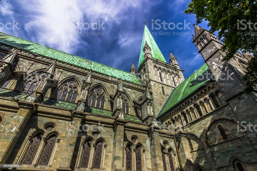 July 28, 2015: Facade of the Nidaros Cathedral in Trondheim, Norway stock photo