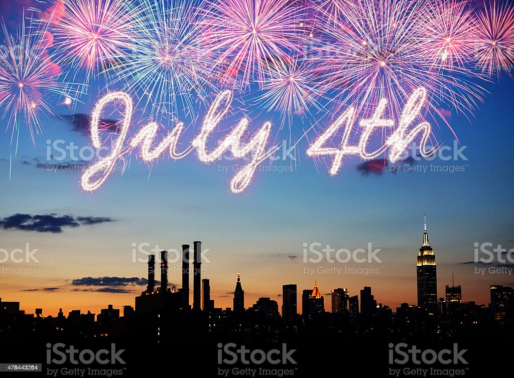 July 4th celebrations over New York stock photo