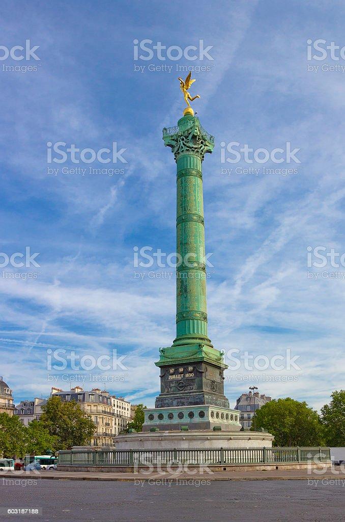 July Column on Place de la Bastille  in Paris, France stock photo