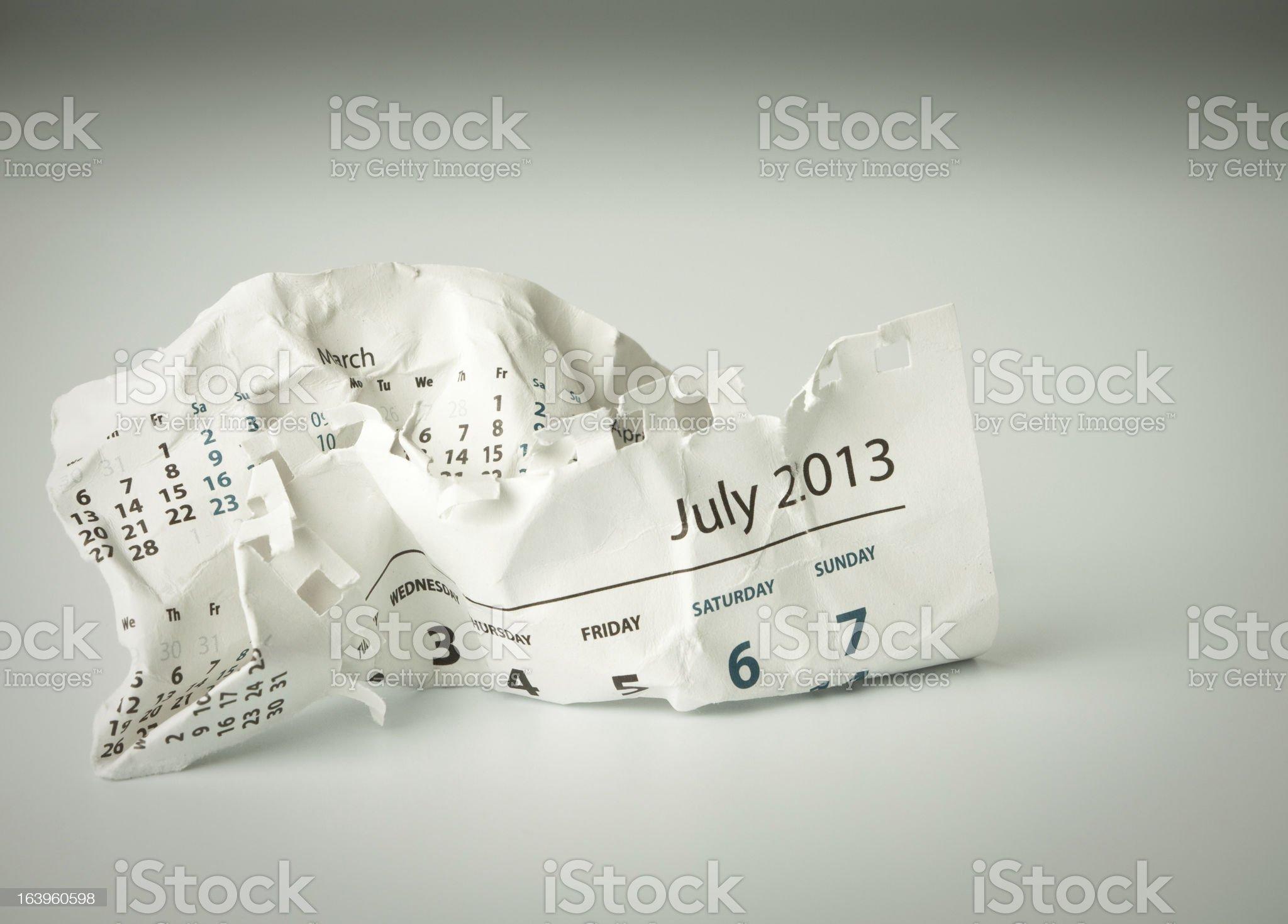 July. Crumpled calendar sheet royalty-free stock photo