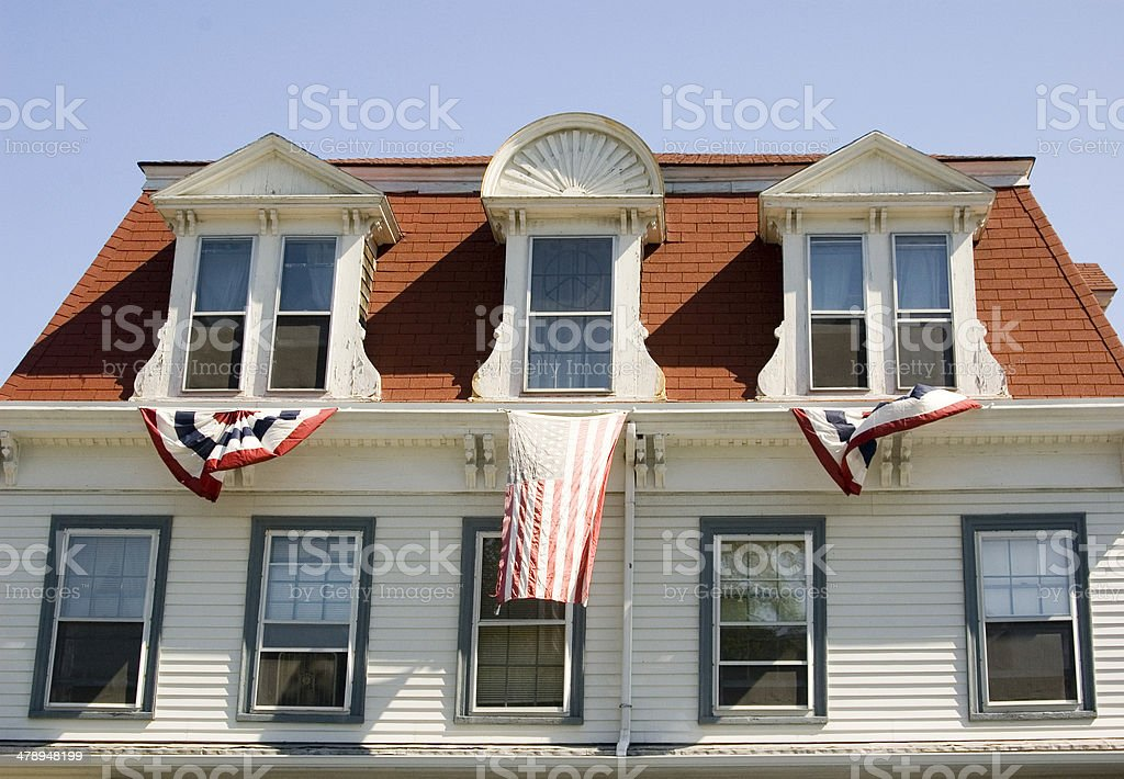 July Fourth house in Massachusetts stock photo