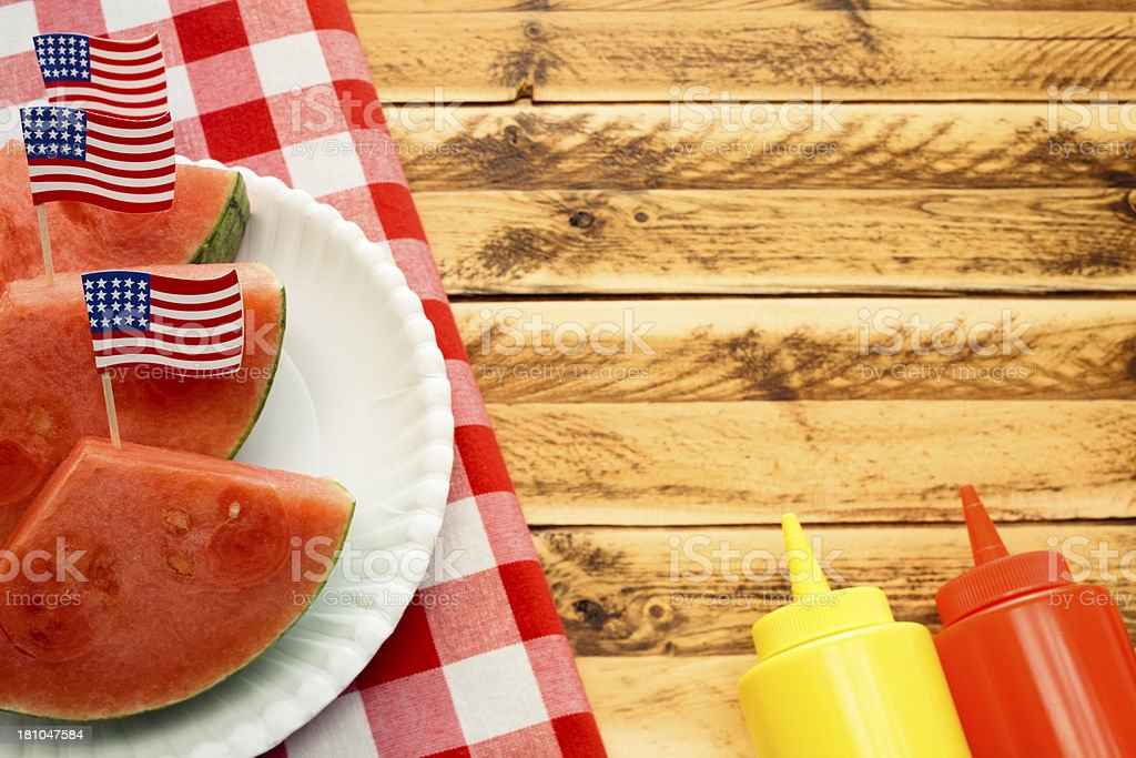 July Fourth Picnic with Condiments royalty-free stock photo