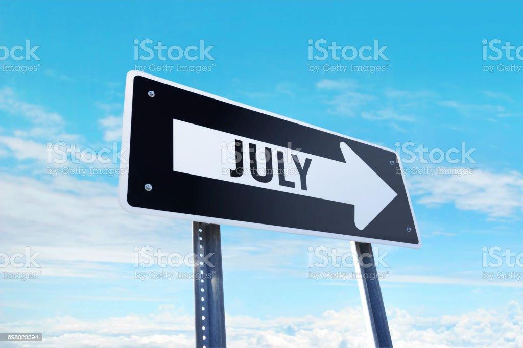 'July' traffic sign stock photo