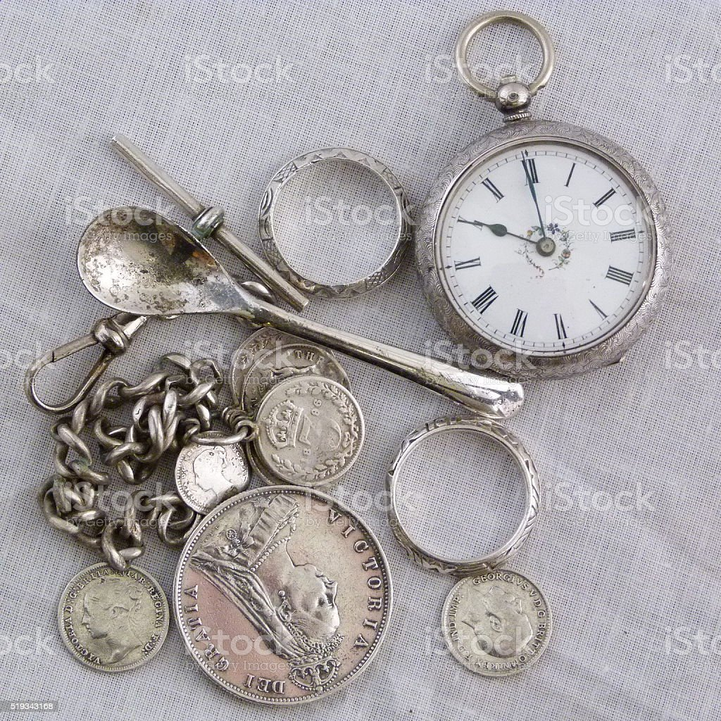 Jumble of silver stock photo